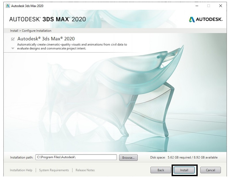 cài đặt autodesk 3d max